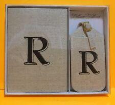 Lillian Rose Monogram Letter R Luggage Tag/Passport Cover, Tan NIB