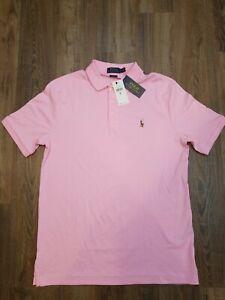 NWT Polo Ralph Lauren Men's Pink Classic Fit Interlock Polo Shirt Size M $85