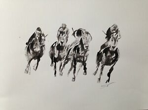 Original signed Ink sketch painting of Horse Racing