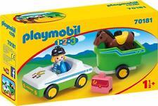 Playmobil 1.2.3 - 70181 Coche con Remolque de Caballo - Nuevo