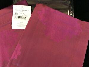 Yves Delorme 2 King Shams Pillowcases Reflet Rubino Red Jacquard Sateen $310 NWT