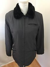 Gallery Ladies Jacket Gray Sz S Faux Fur Collar Zippers Lined Poly Filling