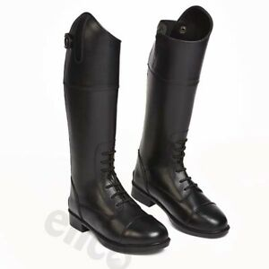 Childrens Charlotte Long Black Leather Laced Front Riding Boots Charlotte 13-5