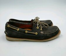 SPERRY TOP-SIDER MENS GOLD CUP BOAT SHOES Sz 7.5 M Navy Blue/Gold 2-Eye Loafers