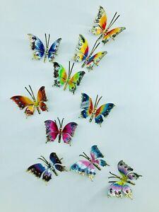 Set di 10 farfalle piccole in ferro battuto da appendere a parete o poggiare