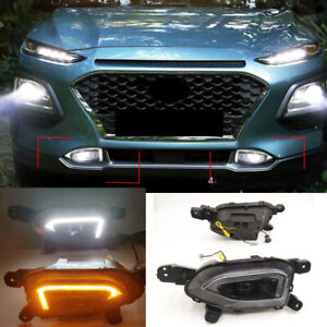 Front Bumper Fog lamp Light Complete Kit For Hyundai Kona 2018 2019-2021