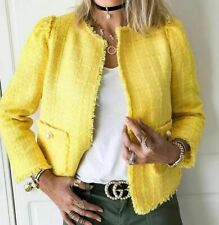 ❗️ ZARA TWEED KNITTED YELLOW BLAZER JACKET COAT WITH FAUX PEARL SIZE M NEW