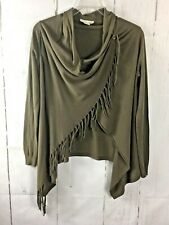 85273685412 Love Stitch Carys Fringe Sweater Shawl Cardigan Wrap Army Green Size Small