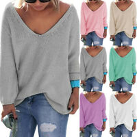 Womens V Neck Long Sleeve Casual Pullover Sweater Shirt Loose Blouse Jumper Tops