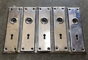 Lot Antique Art Deco Chrome Architectural House Door Lock Mortise Plate Cover