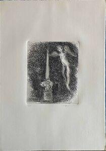 LUIGI BROGGINI acquaforte 1983 50x35 Obelisco firmata numerata 7/100
