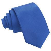 Royal Blue Mens Slim Tie Handkerchief Cufflinks Solid Plain Shantung by DQT