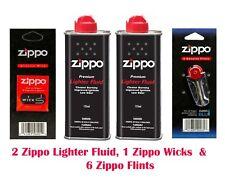 2x Zippo Lighter Fuel Fluid Petrol   1 X Wick X 6 Flints- Free & Fast Delivery