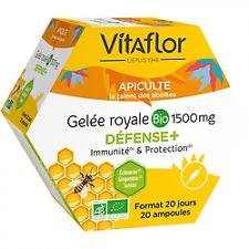 VITAFLOR Apiculte Gelée Royale Bio 1500mg Défense+ 20 ampoules
