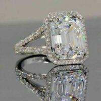 Moissanite White Emerald 4.48 Ct Lovely Engagement WEDDING GIFT Ring 925 Silver