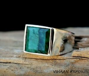 925 Sterling Silver Natural Colombian Emerald Square Shape Gemstone Men Ring