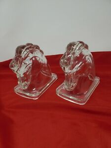 Glass Horse Head Bookends Vintage Pair of Federal Clear heavy glass
