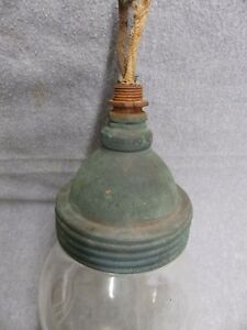 Vintage Industrial Copper Light Threaded Glass Globe Jar Early Steampunk 5053-15