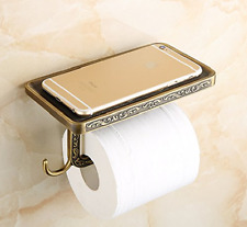 Antique Brass Wall Mounted Toilet Paper Holder Stand wiht Phone Shelf Keys Hook