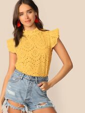 Yellow Frilled Neck Schiffy Top
