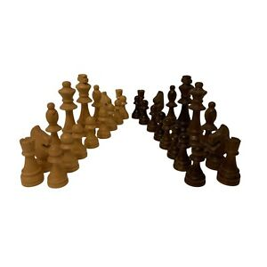 Large Vintage Varnished Turned Wooden Chess Men Pieces Chess Set