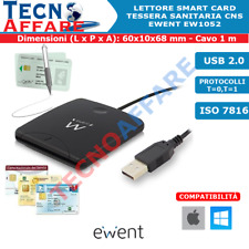 Lettore Smart Card Firma Digitale Tessera Sanitaria CNS Smartcard Ewent EW1052
