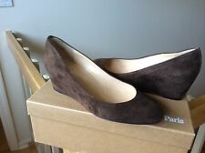 Christian Louboutin Women's shoes wedge heels pumps slides Brown suede Sz 36 NEW