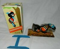 Vintage Tin Litho Wind-Up Zhuomuniao Woodpecker Toy in Box, working, but no key