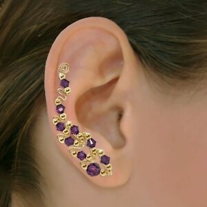Ear Climbers Ear Crawlers Sweeps Earring Gold or Silver Swarovski Crystals #247