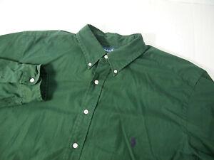 Ralph Lauren Mens Shirt XLT Tall Solid Green Button Long Sleeve Cotton Classic