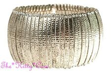Burn Silver Hammered Tribal Slave Ethnic Flex Bar Bracelet w/ Swarovski Crystals