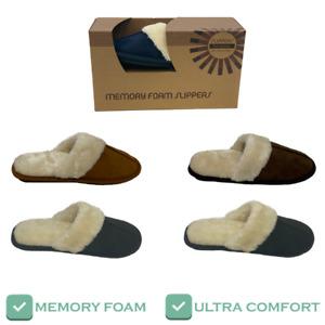 Ladies Memory Foam Slippers Faux Fur Lined in Box