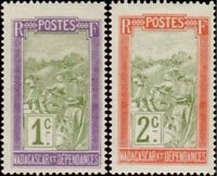 EBS French Madagascar 1908 Transport à Filanzane MG 94-95 MNH**