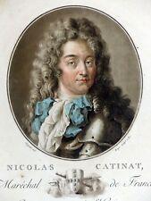 Gravure coul. Aquatinte PORTRAIT NICOLAS DE CATINAT Maréchal France SERGENT 1787