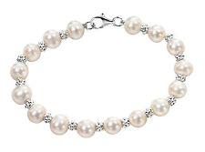 Beginnings Sterling Silver White Freshwater Pearl Textured 19cm Bracelet B3701w