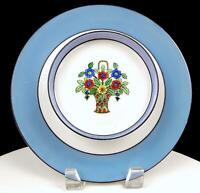 "NORITAKE JAPAN BLUE BAND AND FLORAL BASKET CENTER 9"" CHIP AND DIP 1921-1924"