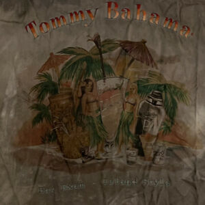 TOMMY BAHAMA Embroidered Hawaiian Camp Shirt Tie Dye Tropical Paradise L