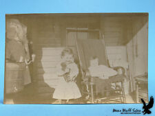 RARE IMAGE Girl Child Infant Mama Washing Machine Tubs Teddy Bear Toy Porch RPPC