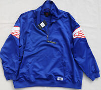 AIR JORDAN Wings NIKE Classic 1/4 Zip Pullover Varsity Jacket JumpMan Blue Satin