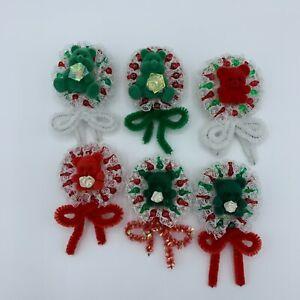 Christmas Pins Lot #6 -  Beaded Teddy Bear Wreaths
