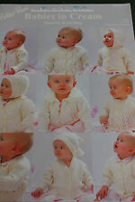 """Peter Pan Babies in Cream knitting Pattern book 313 Double knit, 12-36"""" chest."""