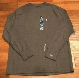 Polo RALPH LAUREN Men's XL Long Sleeve Waffle Shirt Thermal DARK GRAY