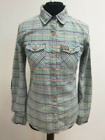 EE178 WOMANS SUPERDRY MULTI TINY CHECK ELBOW PATCH L/SLEEVE COLLAR SHIRT UK S