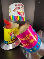 3 Vintage Happy New Year Cartoon Silver Accent Paper Top Hats-Adult Size