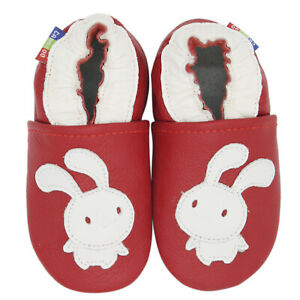 carozoo bunny red 18-24m soft sole leather baby shoes