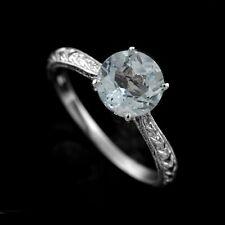 Aquamarine Gemstone Engraved Carved Milgrain Antique Style Engagement Ring