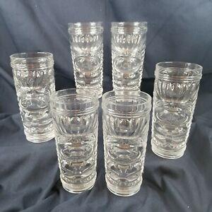 """NEW 6 Set Georgi Radev Real Ing. Cocktail 3D Tiki Mug Glass 7"""" Clear Tumbler Box"""