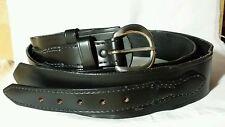 Vintage JAY-PEE Genuine Top Grain Bridle Black Leather Cowhide Belt Brass Buckle