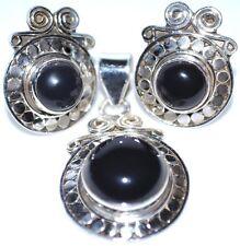 925 Sterling SILVER SET Black Onyx Pendant + Earring Set stud Earrings Jewellery