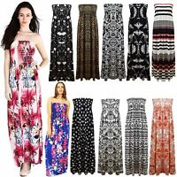 New Ladies Long Sheering Boob Tube Bandeau Strapless Printed Maxi Dress Top 8-22